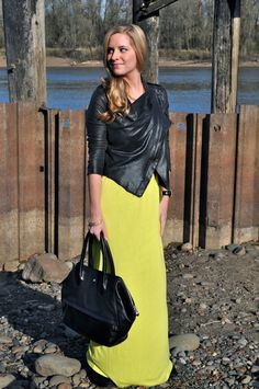 Neon chartreuse maxi dress & draped, waterfall leather jacket