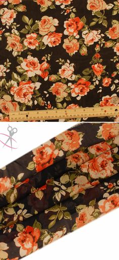 Groups of detailed and classically drawn roses live vibrantly on this Black Hi Multi Chiffon backdrop. The roses are Off White, Ivory, Tomato Red, & Light Coral. The stems are Water Cress, Olive, Light Green & Black. Hi Multi Chiffon is a lightweight, stylish and free flowing fabric. It is a great material for layered dresses, blouses, scarves, wraps, DIY hairpieces, even chair decorations and much more!