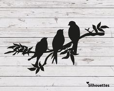 SVG 3 birds on a branch silhouette Vector file for cricut Silhouette Cameo, Vogel Silhouette, Silhouette Painting, Silhouette Vector, Silhouette Design, Cricut, Three Birds Tattoo, Vogel Tattoo, Bird Stencil