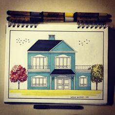 Blue house ✏️ #art #arte #arquitetura #architecture #arquitectura #arqsketch #arquitetapage #44arqui - natigiovanaz