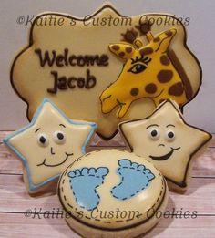 "3"" Giraffe plaque  1"" Smiling Star  1"" Round Baby feet"
