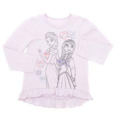 Long-sleeved Disney Frozen top with ribbon embellished image and frilled hem