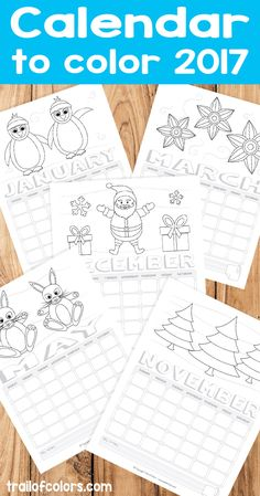 Printable Calendar to Color 2017 - Kids will love this calendar