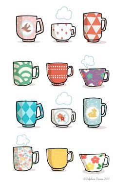 Also, eine Tasse Tee, in Ruhe, und wir gehen . - Crafty little ideas! Printable Stickers, Cute Stickers, Planner Stickers, Tee Kunst, Sketch Note, Buch Design, Kawaii Doodles, Tea Art, Bullet Journal Inspiration