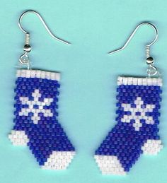 Hand Beaded Blue Snowflakes Stockings earrings by beadfairy1