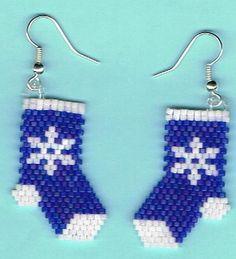 Hand Beaded Blue Snowflakes Stockings earrings by beadfairy1
