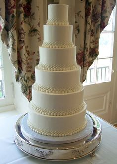 Buttercream with varying Swiss dots...with fresh flowers and 3 layers.