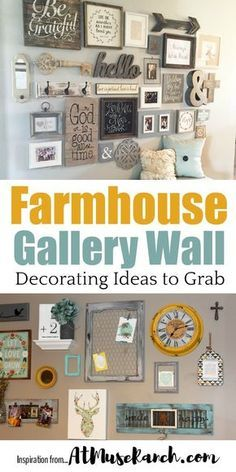 Check it out Farmhouse Gallery Wall – These rustic wall decor ideas will add the eclectic warmth and charm to your home you've been looking for… so get inspired and ready to create. The post Farmh . Rustic Wall Decor, Rustic Walls, Wall Decor For Kitchen, Rustic Wood, Kitchen Gallery Wall, Rustic Bedrooms, Gallery Walls, Kitchen Ideas, Home Interior