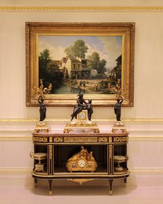 "19th Century Antiques interior set: - Oil painting by Léon Légat French, 1829- unknown ""Scene on a farm"" - Gilt bronze clock garniture signed by JB Marchand, late 19th century - Console dessert table by Henry Dasson Louis XVI style, 1880 - A Continental Onyx, Champleve and Gilt Bronze Mounted Bowl, Late 19th century - Mantel clock by Phillipe Mourey French Late 19th century - Barbedienne style cup French Napoleon III period"