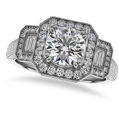 Allurez Diamond Vintage Square Halo Engagement Ring 14k White Gold... ($7,510) ❤ liked on Polyvore featuring jewelry, rings, round engagement rings, vintage diamond rings, vintage white gold ring, vintage style rings and vintage engagement rings