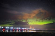 'Aurora over Mackinac' ~ The Northern Lights illuminate the sky over the Mackinac Bridge during the early hours of July 15, 2013  Mackinaw City, Michigan.  Photo can be purchased from Neil Weaver Photography