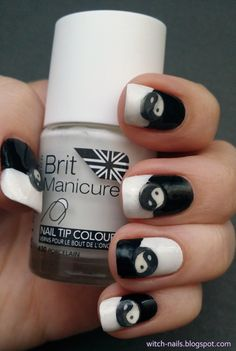 Black and white nails with yin & yang fimo slices!