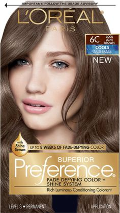 Since L'Oreal Superior Preference has been their gold standard in permanent hair color delivering extraordinary shine and luminous hair color that lasts and lasts. Hair Color And Cut, Haircut And Color, Hair Color Blue, Brown Hair Colors, Box Hair Dye, Dyed Hair, Loreal Hair Color Brown, Loreal Preference Hair Color, Light Ash Brown Hair