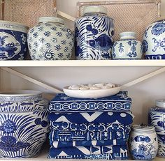 Blue and white decor. Blue and white ginger jars.