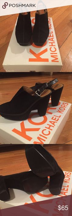 """Kors by Michael Kors Slingback Suede Platforms Kors by Michael Kors """"Quincy"""" black square toe slingback Suede mule. 1"""" Platform, 4"""" heel. Previously loved - minimal signs of wear on sole. Suede is practically new! Comes with original box KORS Michael Kors Shoes Mules & Clogs"""