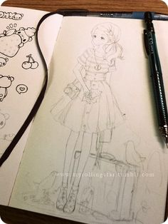 ✮ ANIME ART ✮ anime girl. . .ponytail. . .striped shirt. . .high-waisted skirt. . .nautical outfit. . .suitcase. . .bird. . .sketchbook. . .pencil drawing. . .graphite. . .doodle. . .cute. . .kawaii
