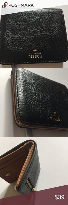 """🔑FOSSIL Soft Leather Bi-Fold Wallet Coin Purse Brand new! - Bi-fold with magnetic closure - Leather construction - Exterior features 1 back zip pocket - Interior features 1 ID window, 2 card slots, 1 bill slots, 3 slip pockets - Approx. 3.5"""" H x 3.5"""" W x 0.5"""" D Leather exterior, textile lining Fossil Bags Wallets"""