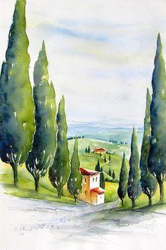 Water Paint Art, Watercolor Landscape Paintings, Art Impressions, Color Pencil Art, Urban Sketching, Painting Techniques, Art Lessons, Drawings, Watercolor Art Paintings