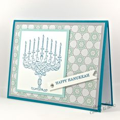 Fancy Styled Happy Hanukkah Menorah Handmade Greeting Card Blue White - A truly delightful handmade Happy Hanukkah card featuring a beautiful hand stamped image of a menorah. --- by @zousha