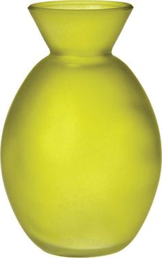Chartreuse Green Frosted Glass Vases (oval design)
