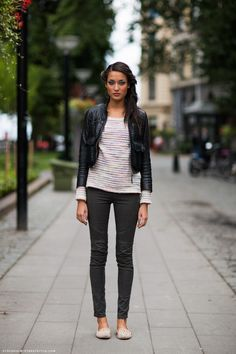 """A leather jacket made this outfit """"night out"""" worthy. #leather #readytowear"""