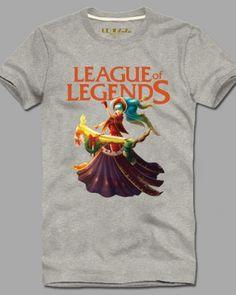 League of Legends cotton tshirt for men plus size Sona short sleeve-