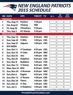 New England Patriots 2015 Schedule. Printable version here: http://printableteamschedules.com/NFL/newenglandpatriotsschedule.php
