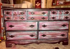 Antique distressed and refinished dresser in pink, turquoise and black