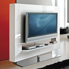Porta TV giratorio Panorama con estructura en lacado brillante blanco