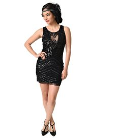 1920s Style Black Sequin Mesh Keyhole Short Flapper Dress -- Visit the image link more details. (This is an affiliate link) #CocktailDress