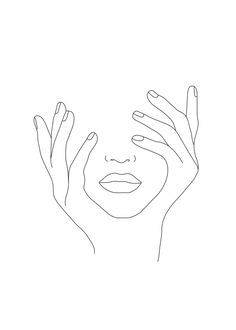 Minimal Line Art Woman with Hands on Face Mini Art Print by Nadja - Without Stand - x Face Line Drawing, Mask Drawing, Single Line Drawing, Face Sketch, Face Aesthetic, Aesthetic Drawing, Minimal Drawings, Art Drawings, Girl Face