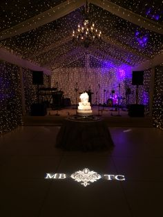 """A """"starry sky"""" of twinkle lights and glowing chandelier set the stage for this faboulous, spot light worthy, wedding cake at Quail Hollow Country Club, Charlotte NC, November 2014.  Lighting by Get Lit, Special Event Lighting.  Wedding Planner: Walton Event Design"""