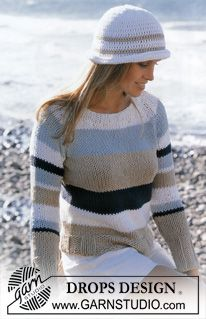 DROPS Pullover in Drops Ice and Crocheted hat in Paris ~ DROPS Design Love the colors