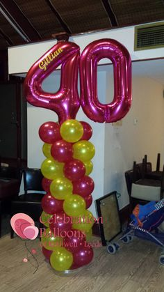 Personalised balloon columns from www.balloonsleeds.com Balloon Columns, Balloon Arch, Balloon Garland, The Balloon, Balloon Decorations, 40th Birthday Balloons, Birthday Candles, Balloon Words, Balloon Pictures