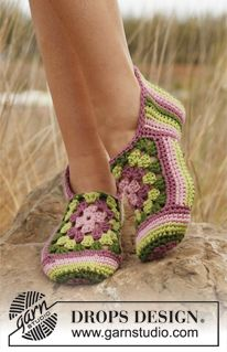 Crochet DROPS slippers with stripes and granny squares. So cute, great colours