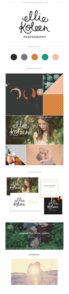 Logo, color palette, inspiration board, and other design ideas in this brand guide for a wedding photographer — June Letters Studio