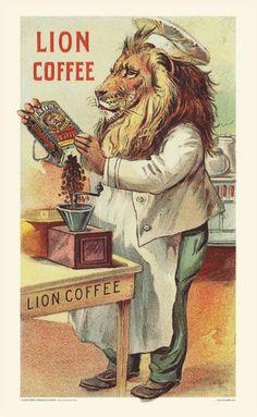 Vintage poster for Lion Coffee, Honolulu, Hawaii. Vintage Labels, Vintage Postcards, Vintage Ads, Vintage Prints, Poster Vintage, Vintage Signs, Coffee Cafe, Coffee Shop, House Coffee