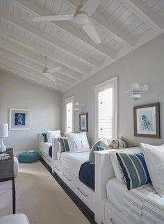 Florida Beach House with New Coastal Design Ideas - Home Bunch Interior Design Ideas Beach Cottage Style, Beach House Decor, Beach House Rooms, White Beach Houses, Small Beach Houses, Dream Beach Houses, Bunk Rooms, Coastal Bedrooms, Beach Cottage Bedrooms