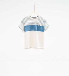 스트라이프 콤비 티셔츠