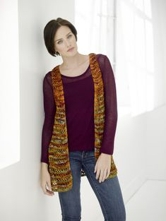 Delightfully Light Vest is a knitted vest pattern from Lion Brand. This pattern uses LB Collection 100% Silk
