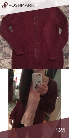 Long Maroon Cardigan Great for layering. Long style for dresses or with jeans. Cozy! Nordstrom Sweaters Cardigans