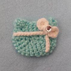 White Bow Tiffany Blue Present Crochet Hair Clip by 918Girl