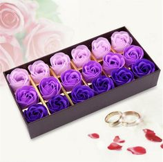 [Visit to Buy] Rose Soap Flower Scented Soap Flower Petals 18 Heads With Box For Valentine's Day Birthday Gift Artificial Flowers For Decor #Advertisement