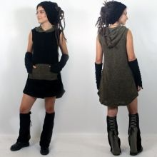 "Robe witch ""balaji"", noir-kaki taille unique"