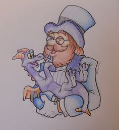 Happy 30th Birthday Dreamfinder and Figment, Coloured Pencil and Ink on Paper, March 2013