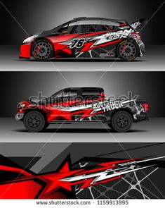 Car decal wrap, Truck and cargo van design vector. Graphic abstract stripe racing background kit designs for wrap vehicle, race car, rally, adventure and livery Car Stickers, Car Decals, Pickup Trucks, Car Iphone Wallpaper, Van Design, Cargo Van, Vans, Car Painting, Rally Car