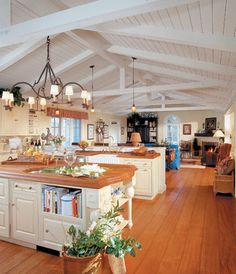 Open kitchen and living room with high ceiling