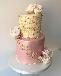 precious metal and dusty rose wedding cake weddings cakes wedidngideas rosesandrings weddinginspiration Metallic Wedding Cakes, Blush Wedding Cakes, Fondant Wedding Cakes, Wedding Cake Roses, Beautiful Wedding Cakes, Fondant Cakes, Beautiful Cakes, Amazing Cakes, Cupcake Cakes