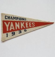 1936-37 New York Yankees BF3 Mini Pennant Baseball Champions