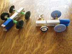 For a easy boredom buster, gather together:    1 clothespin (per car) 4 buttons, of the same size 1 drinking straw 2 bread ties colored tap...